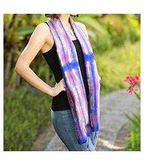 silk scarf, 'purple thai river' (thailand)