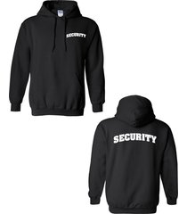 security event  bouncer bar concert show double sided black  men's hoodie