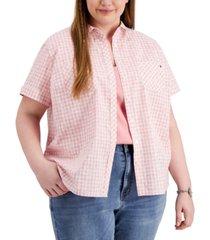 tommy hilfiger plus size gingham camp shirt