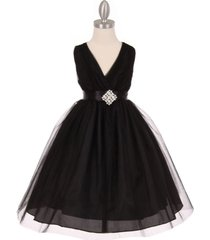 black crystal tulle v-neck pleated style rhinestone pin party flower girl dress