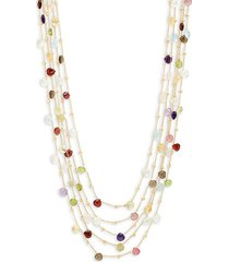 saks fifth avenue women's 18k goldplated sterling silver & multi-stone five-strand necklace