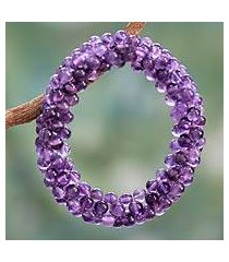 amethyst beaded stretch bracelet, 'love song' (india)
