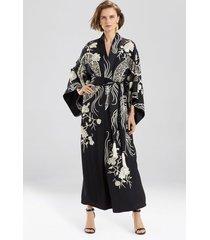 natori couture floral dragon sleep & lounge bath wrap robe, women's, 100% silk, size l