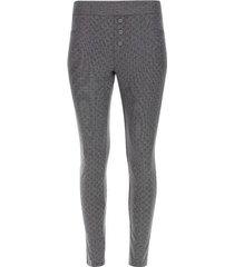 leggings rayas cuadros con botones color gris, talla 10