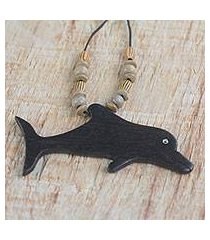 wood pendant necklace, 'wild dolphin' (ghana)