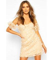 kanten bloemenprint mini jurk met pofmouwen, nude