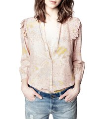 women's zadig & voltaire tygg print glam long sleeve blouse, size x-small - pink