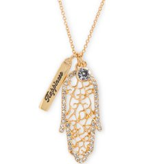 "rachel rachel roy gold-tone crystal hamsa hand happiness 32"" double pendant necklace"