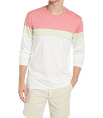marine layer jacob color block long sleeve t-shirt, size x-large in dusty peach/lime at nordstrom