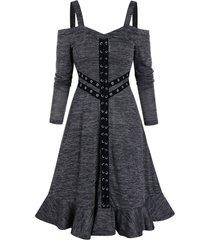 o ring flounce cold shoulder dress