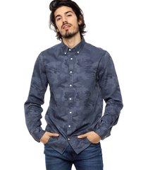 camisa azul tommy hilfiger camouflage jacquard nf3
