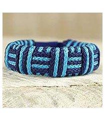 cord bracelet, 'blue kente power' (ghana)