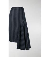 thom browne draped chalk stripe skirt