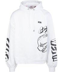 gcds man white hoodie with black graffiti