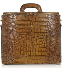 pratesi designer travel bags, croco stamped leather laptop business bag w/courtesy light