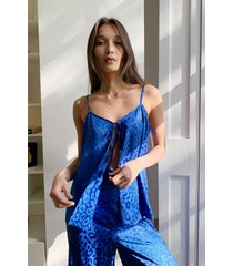 womens baby get shaky tie jacquard cami top - blue