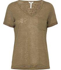 objtessi slub s/s v-neck noos t-shirts & tops short-sleeved grön object