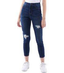 vanilla star juniors' curvy ripped pull-on skinny jeans