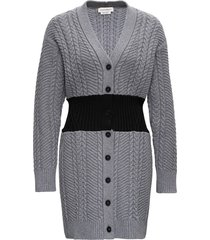 alexander mcqueen long bicolor cardigan in wool and cashmere