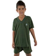 pijama linha 037 noite verde escuro - verde - menino - poliã©ster - dafiti