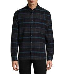 plaid cotton casual button-down shirt