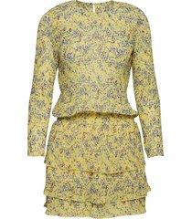 mini flower korte jurk geel line of oslo