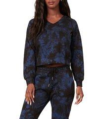 women's bb dakota by steve madden have a nice trip tie dye crop hoodie, size large - blue