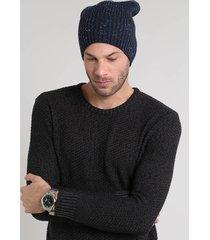 gorro masculino em tricô botonê azul marinho