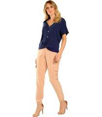 blusa ampla, decote v, gola camisa, torã§ã£o na barra - linda! marinho - multicolorido - feminino - dafiti