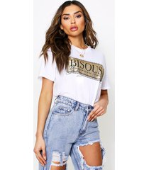 bisous glitter printed oversized t-shirt, white