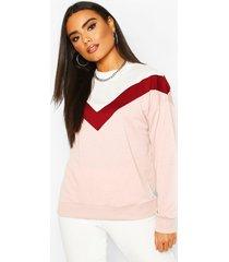 colour block chevron sweatshirt, pale pink