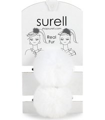 rabbit fur pom pom hair tie