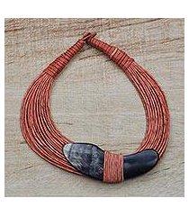 horn pendant necklace, 'tuumsongo' (ghana)