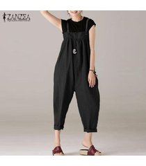 zanzea mujeres strappy plus size long romper jumpsuit playsuit club party overol -negro