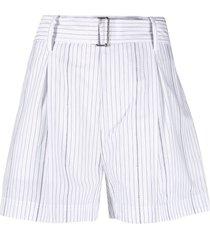 nº21 vertical-stripe high-waisted shorts - white