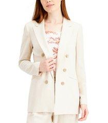 bar iii double-breasted linen peak-lapel blazer, created for macy's