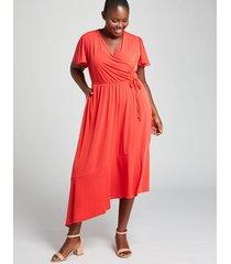 lane bryant women's asymmetrical crossover dress 10/12 flame scarlet