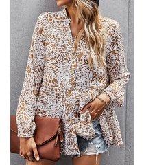 camicetta casual da donna a maniche lunghe con scollo a v con bottoni con stampa floreale vintage