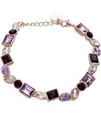 bracciale con pietre sui toni del viola in metallo rosato per donna