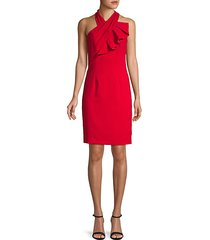 crossover halterneck sheath dress