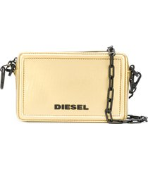 diesel square logo satchel bag - gold