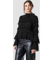 na-kd party pleated high neck frill blouse - black