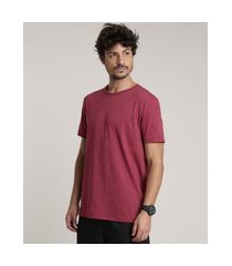 camiseta masculina manga curta básica gola careca vinho