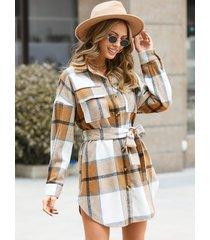 vestido de diseño de cinturón a cuadros con cuello de solapa yoins