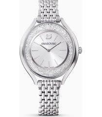 orologio crystalline aura, bracciale di metallo, tono argentato, acciaio inossidabile