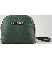 bolsa feminina transversal média matelassê com corrente verde escuro