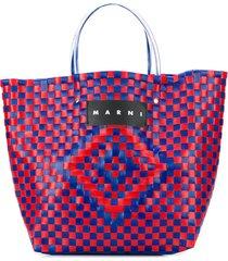 marni market woven logo tote bag - 00c80 red blue
