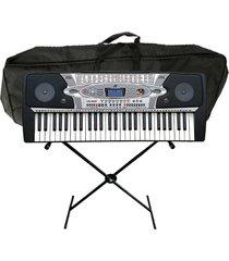 combo teclado meike + base + estuche + microfono