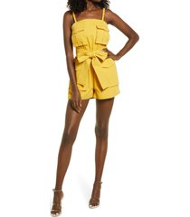 amy lynn structured twill romper, size large in bright yellow at nordstrom