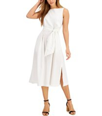 anne klein linen-blend tie-sash midi dress